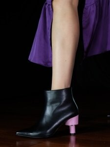 REDOLPH ODD HEEL 70 ANKLE BOOTS IN BLACK AND BABY PINK LEATHER