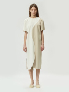 17FW CURVED COLORBLOCK DRESS (IVORY/BEIGE)