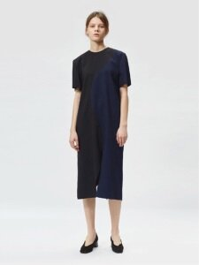 17FW CURVED COLORBLOCK DRESS (BLACK/NAVY)