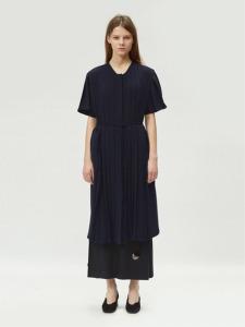 17FW PLEATED DRESS (NAVY)