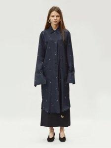 17FW RC LOGO PRINTED SILK SHIRT DRESS