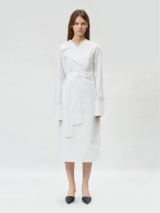 17FW ASYMMETRIC COLLAR COTTON WRAP DRESS (WHITE)