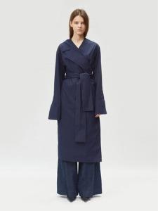17FW ASYMMETRIC COLLAR COTTON WRAP DRESS (NAVY)