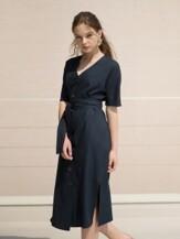 17RESORT V-NECK BUTTON ROBE DRESS NAVY