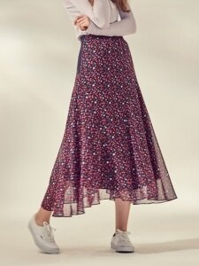UNBALANCED FULL SKIRT_FLORAL/BLACK