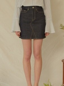 monts643 mini skirt in deep blue denim