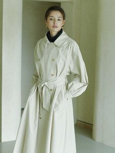 shirring-sleeve hooded trench coat