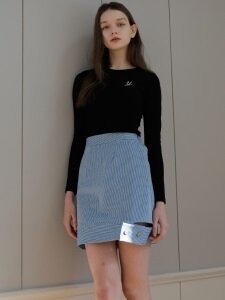 denim stripe skirt_skyblue