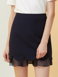 Petal Layered Skirt - navy