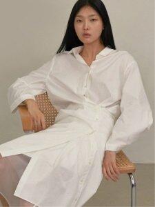 18SS TWO-WAY BUTTON UP SHIRT DRESS (WHITE)