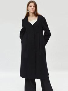17FW PLEATED LONG COAT (BLACK)