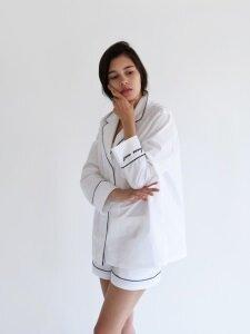 Piped PJM Shirt _ White