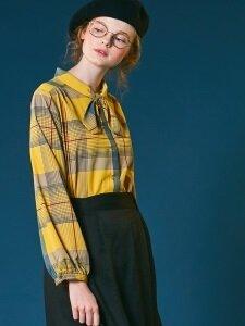 Check tie blouse [khaki/yellow]