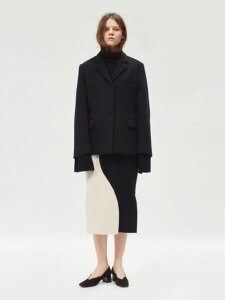 17FW CURVED COLORBLOCK WOOL SKIRT (IVORY/BLACK)