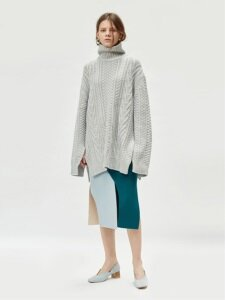 17FW CURVED COLORBLOCK WOOL SKIRT (LIGHT BLUE/GREEN)
