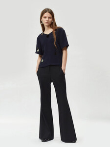 17FW SIDE PLEATED FLARED TROUSERS (BLACK)