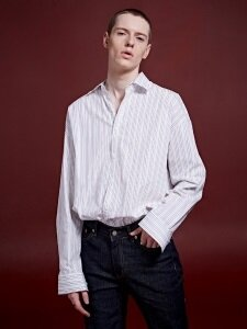 MULTI STRIPE OVER-FIT SHIRTS_IVORY