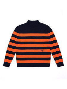 TURTLENECK STRIPE WOOL KNIT (NAVY/ORANGE)