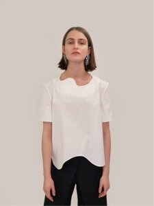 18SS CURVED HEM COTTON TOP