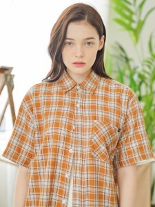 UNISEX Grand Check Shirt-Camel