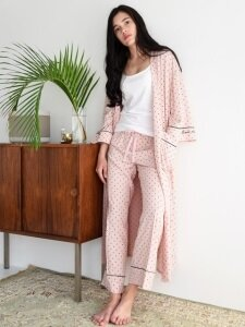 PJM Long Robe _ Pink dots