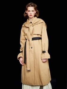 SCARF TRENCH_BEIGE/BLACK