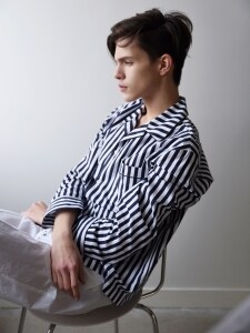 M Pajama Shirt  _ Navy stripe