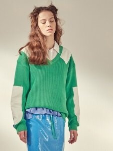 COTTON PATCH PULLOVER KNIT_GREEN/NAVY