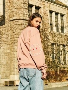 [SS18 Peanuts] Elbow Patch Sweatshirts(Pink)