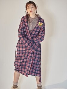 NAVY RED CHECK ROBE