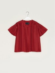 17FW SILK PLEATED SHIRT (RED)