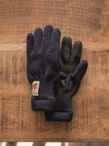 Lined Leather Palm Glove, Navy