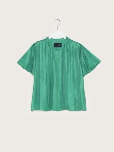 17FW SILK PLEATED SHIRT (TURQUOISE GREEN)
