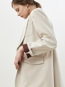 18' SPRING_Beige Single-Button Blazer