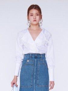 [단독]Flower Lace Shirts Blouse [WHITE]