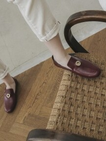 18F Gold-ring Classic Loafer_Burgundy