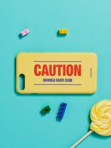 (ETC-012)CAUTION PHONE CASE YELLOW