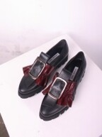 [LO 6141 BG] FRONT TIE & RUFFLE LOAFER