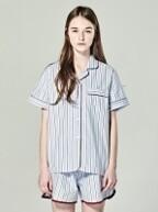 (W) Short Sleeve Pajama Set Ticking Stripe