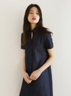 Denim shirts one-piece-blue