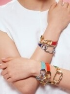 Color Leather Screw Ring Bracelet