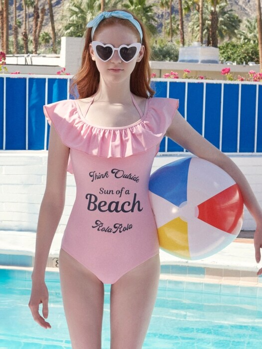 (OP-18373)SHIRRING ONEPIECE SWIMSUIT PINK