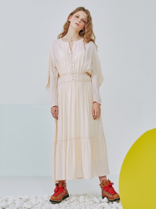 Bon voyage shirring long dress [Peach cream]