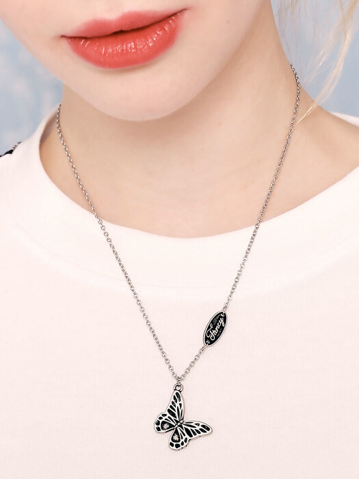 [NF]FANCY BUTTERFLY BURNISH NECKLACE (SILVER)(20SS-F907)