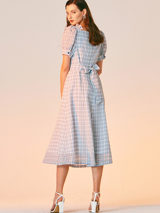 SQUARE NECK CHECK DRESS_BLUE