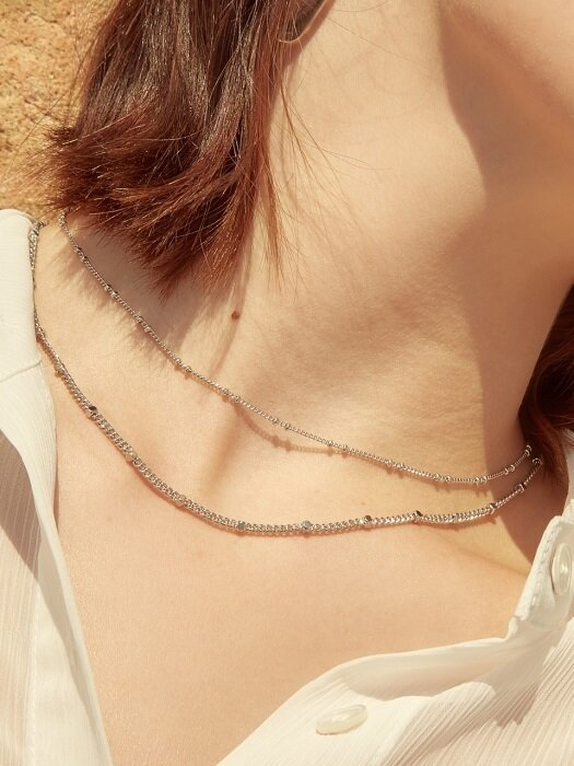 SQUARE BALL CHAIN NECKLACE (2 COLORS)