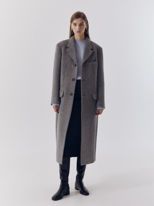 [단독] UNISEX 2-WAY 3 BUTTON MERINO WOOL COAT MELANGE GREY_UDCO0F112G2
