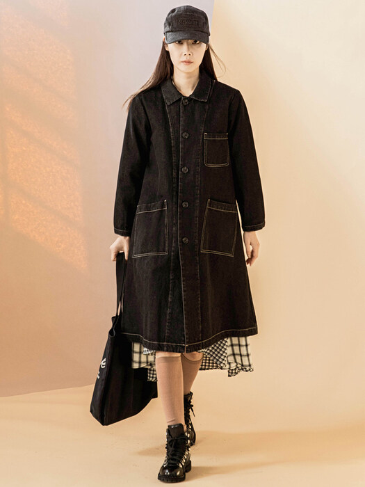Stitch Black Denim Coat