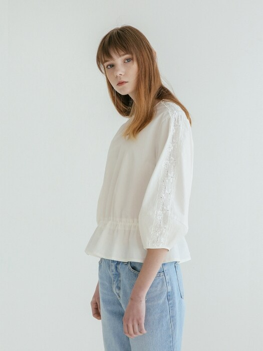 VOLUME SLEEVE LACE BLOUSE WHITE
