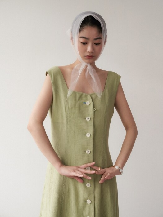 Wrinkle flare dress_apple green